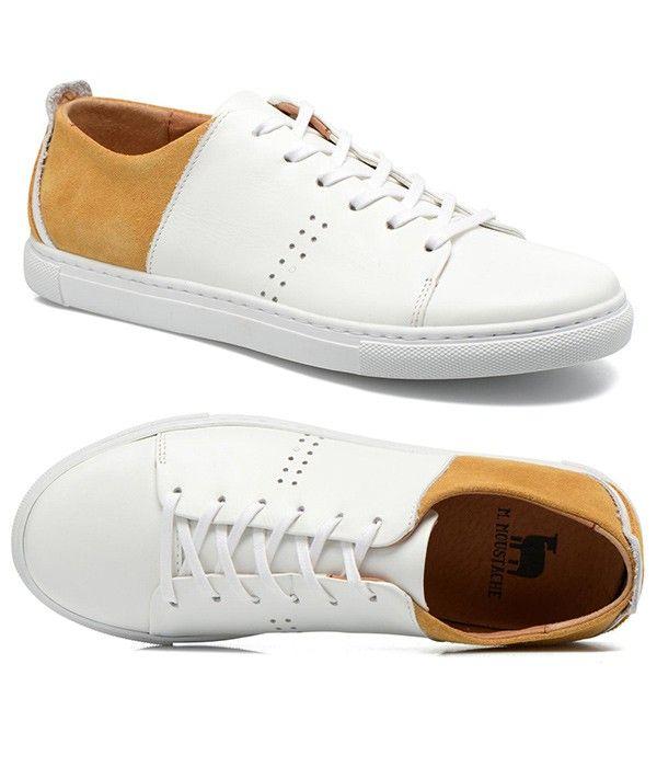 baskets blanches pour homme en cuir m moustache chaussures de tennis blanches chaussure. Black Bedroom Furniture Sets. Home Design Ideas