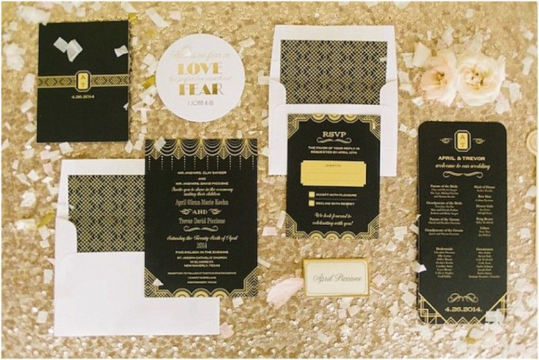 Art deco inspired wedding invitations. (http://www.7centerpieces.com/art-deco-houston-wedding-by-jennifer-laura-design/)   Mustard Seed Photography (http://www.mustardseedphoto.com/)