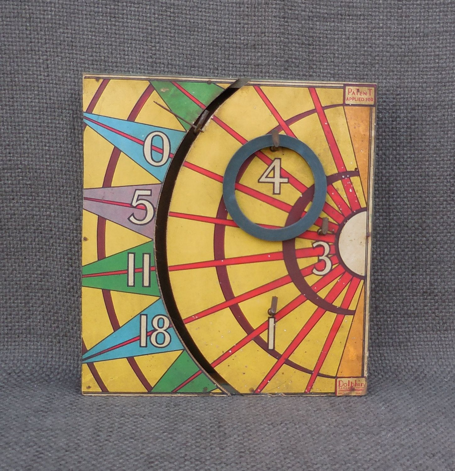 Amazing 1930s Vintage DOLPHIN Games & Toys HOOPLA Game BOARD...Wall ...