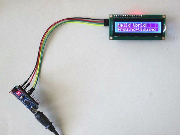 Arduino nano i c lcd display with visuino