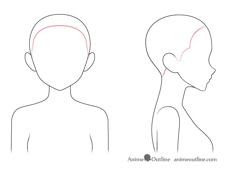 Anime Hairline Drawing Anime Drawings Anime Hair Drawings