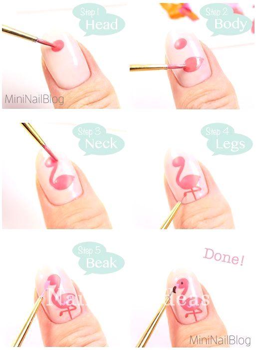 Beautiful And Colorful Art Designs For Short Nails Nailart Flamingo Nails Diy Nails Easy Nail Art Tutorial