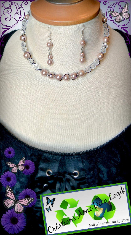 Ensemble collier boucles perle rose antique et cristaux de la boutique AmeDecoLogikFB sur Etsy