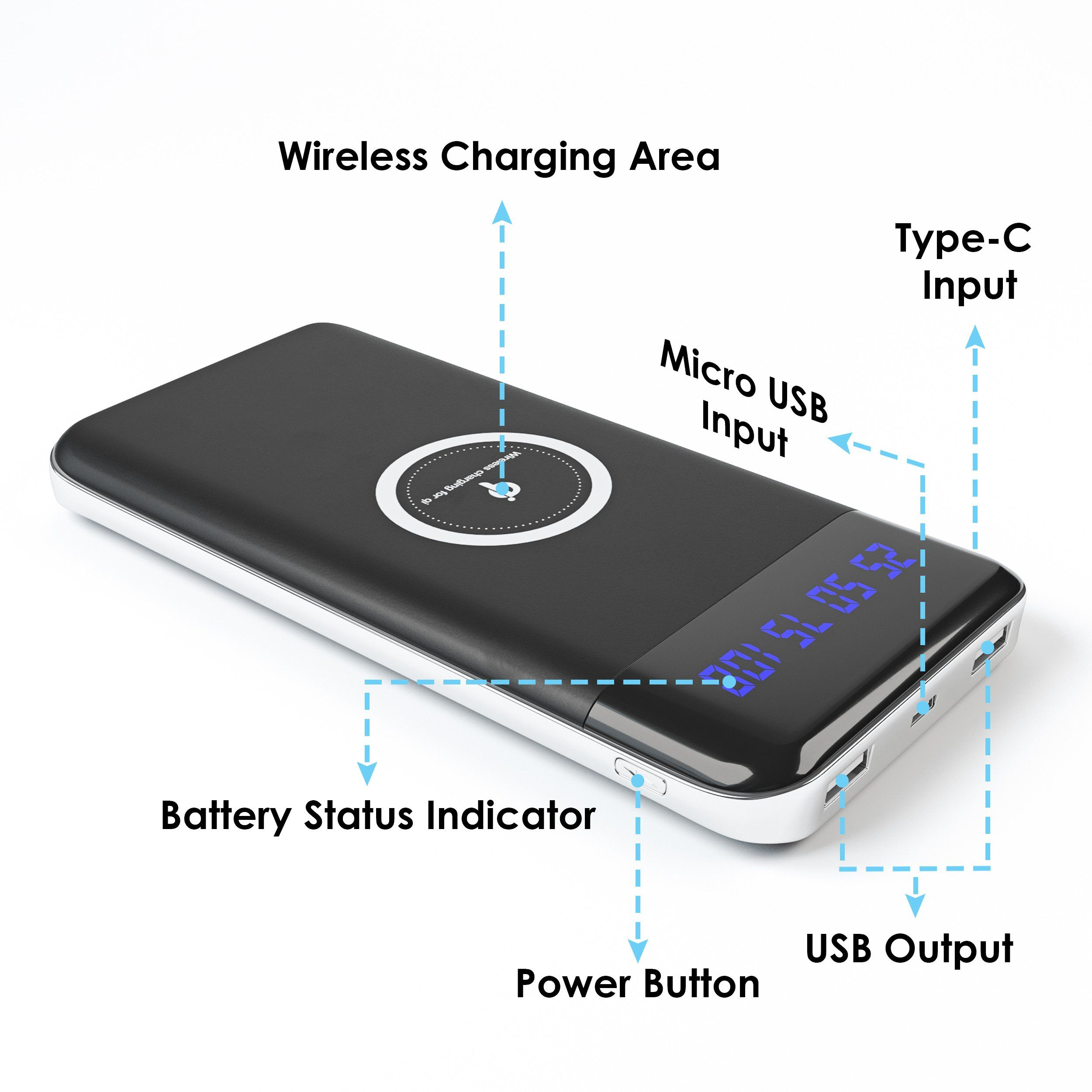 Wireless Battery Charger 10 000 mAh Qi Portable Power Bank
