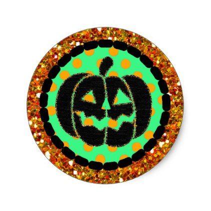 #Black Pumpkin Orange Halloween Stickers - #Halloween happy halloween #festival #party #holiday