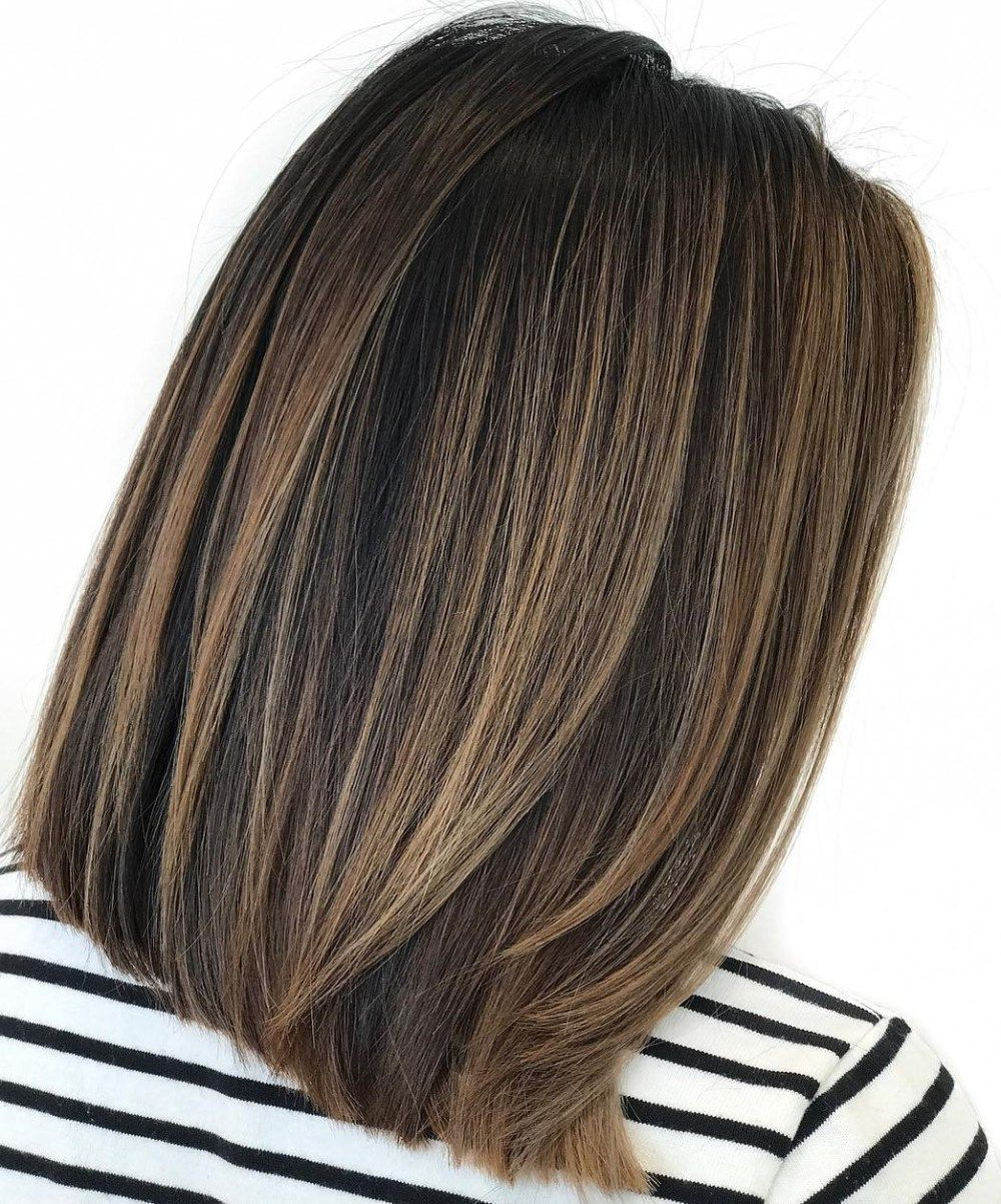 Dimensional Balayage For Straight Brunette Bob Balayage Straight Hair Straight Brunette Hair Brunette Hair Color