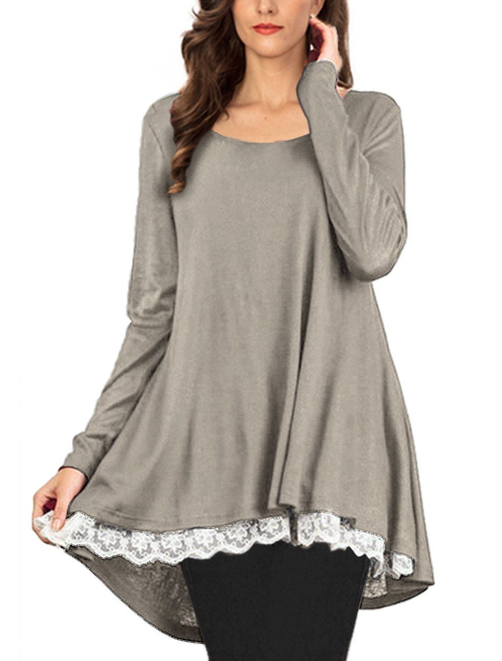 dcca1833566 Lasvane Women Cocktail Gray Winter Tunic Tops For Leggings Lace Trim Plus  Size     See this great product.(It is Amazon affiliate link)   ...