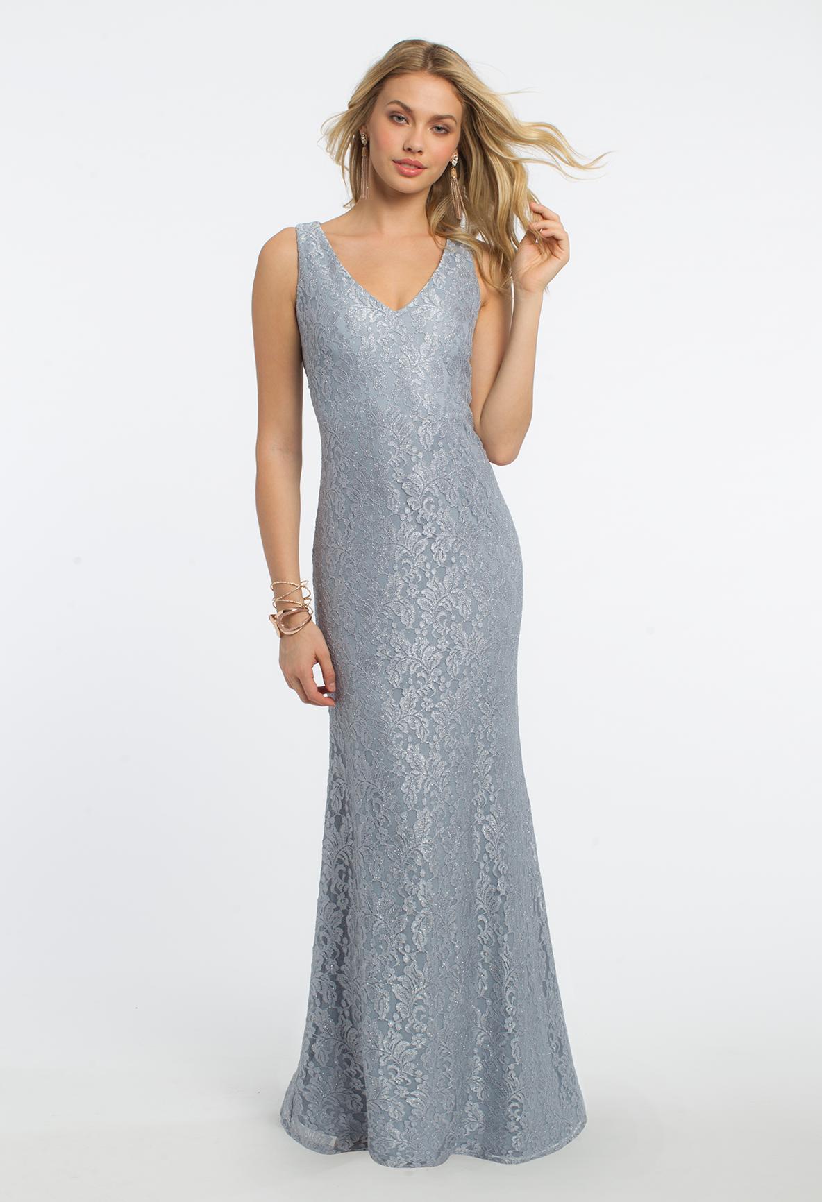 Beaded Trim Cape Lace Dress #camillelavie