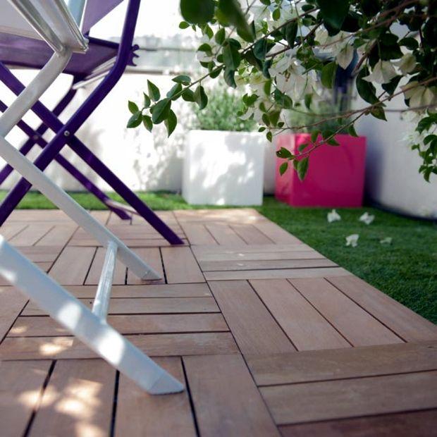un autre balcon bi-matière  bois et gazon La terrasse bois au