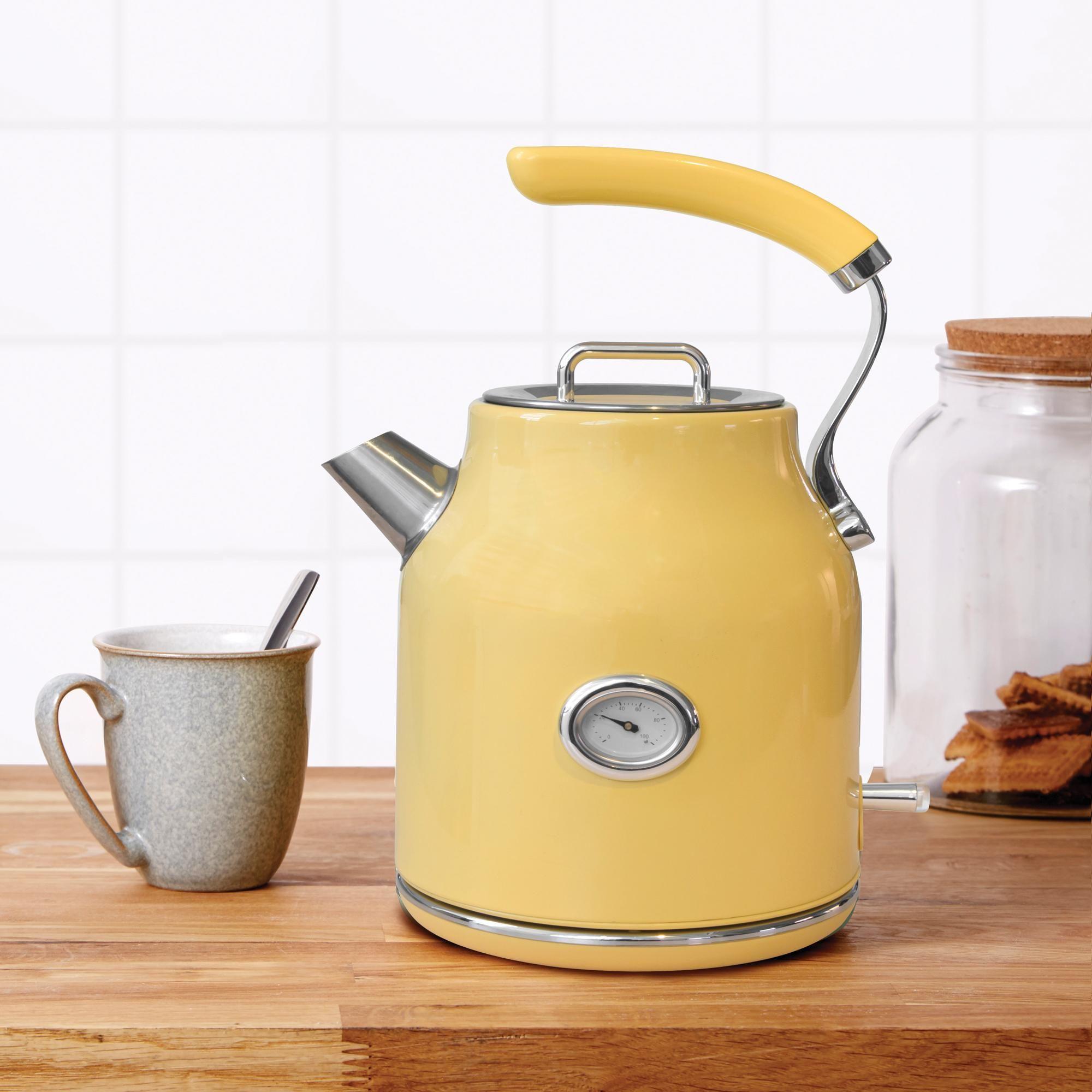 Dunelm Yellow 7.7L 7kW Jug kettle  Retro kitchen appliances