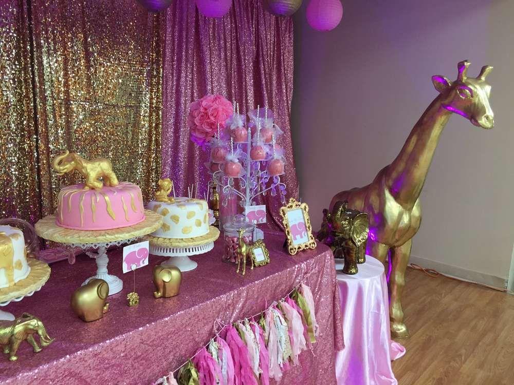 Nice Pink U0026 Gold Safari Baby Shower Party Ideas