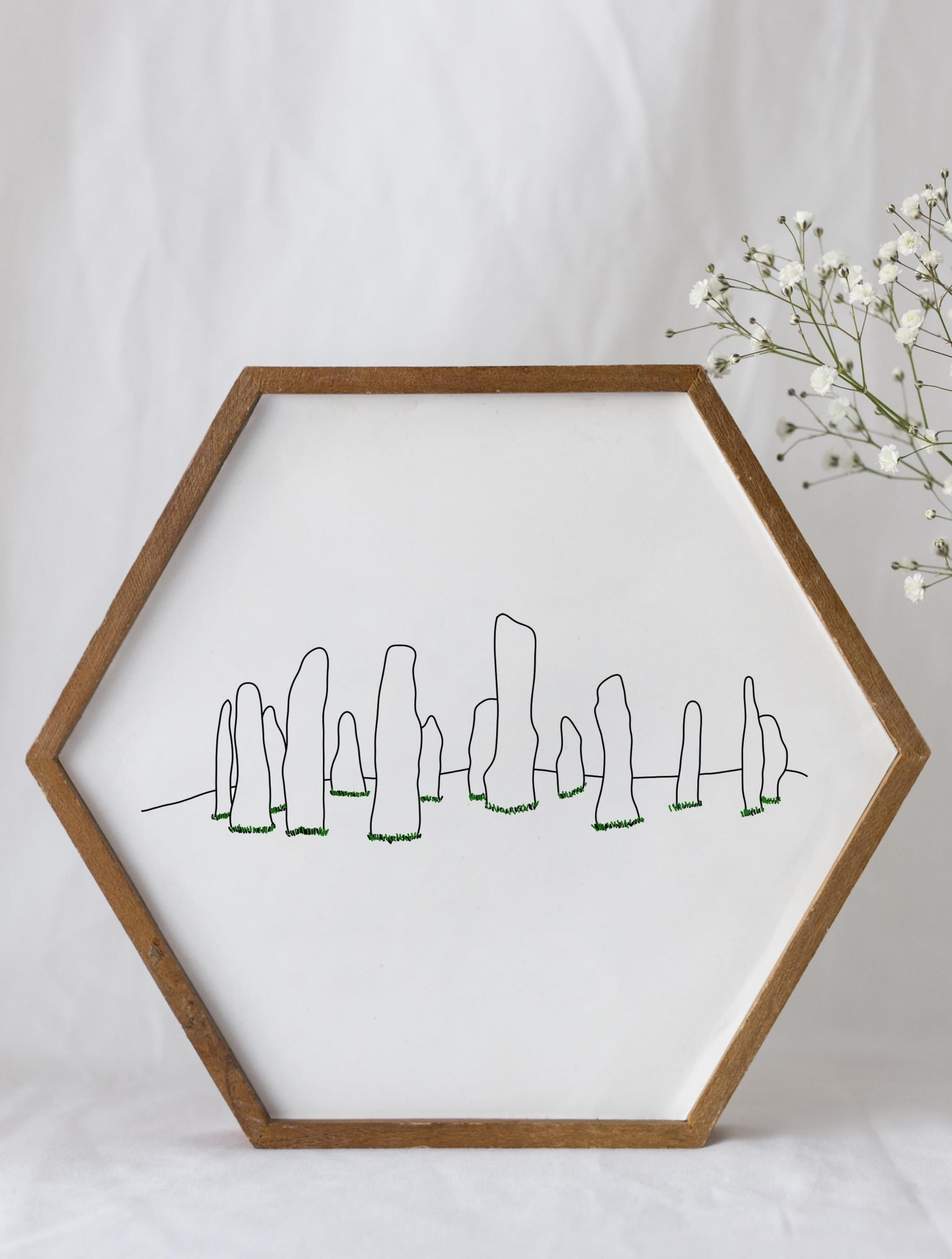 Stone Circle | Standing Stones | Scotland | Printable | Line Drawing | Scottish Wall Art | Landmark