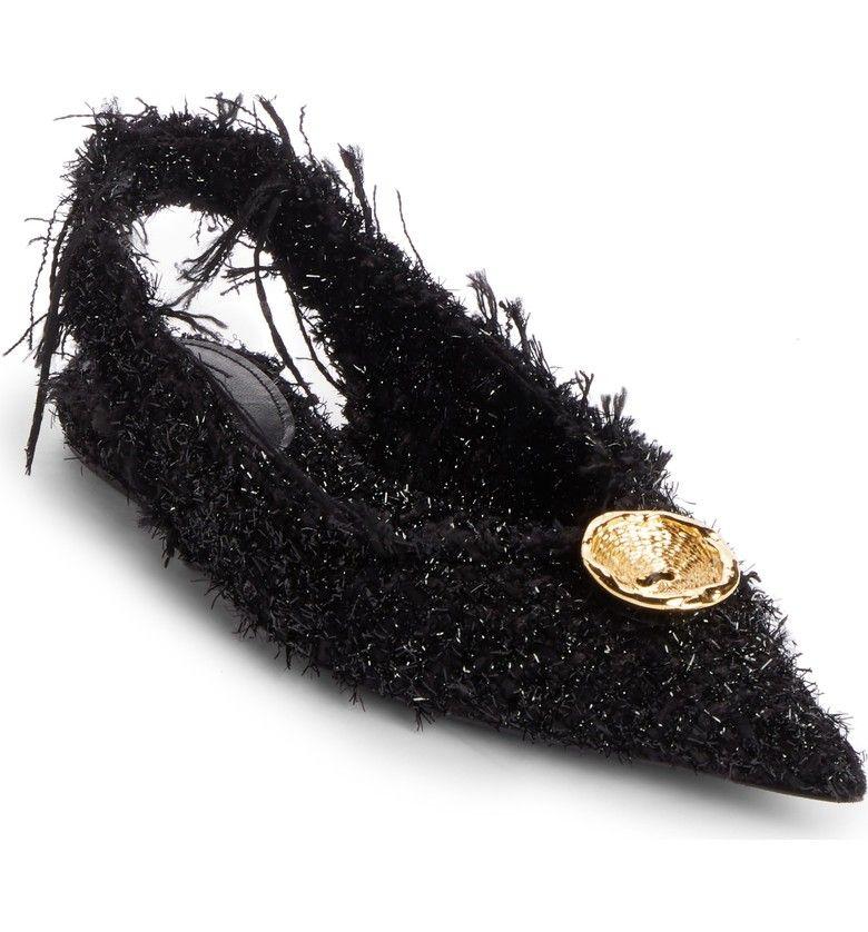 Balenciaga Women's Tweed Pointy Toe Slingback Flat A5X1cGbGUX