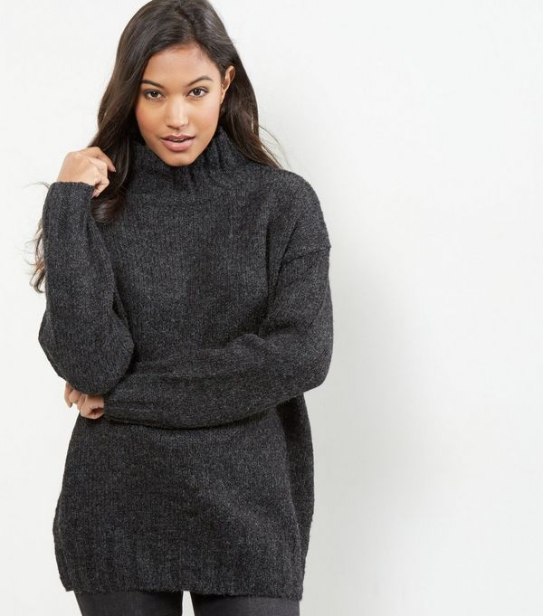 Dark Grey Turtle Neck Jumper | New Look