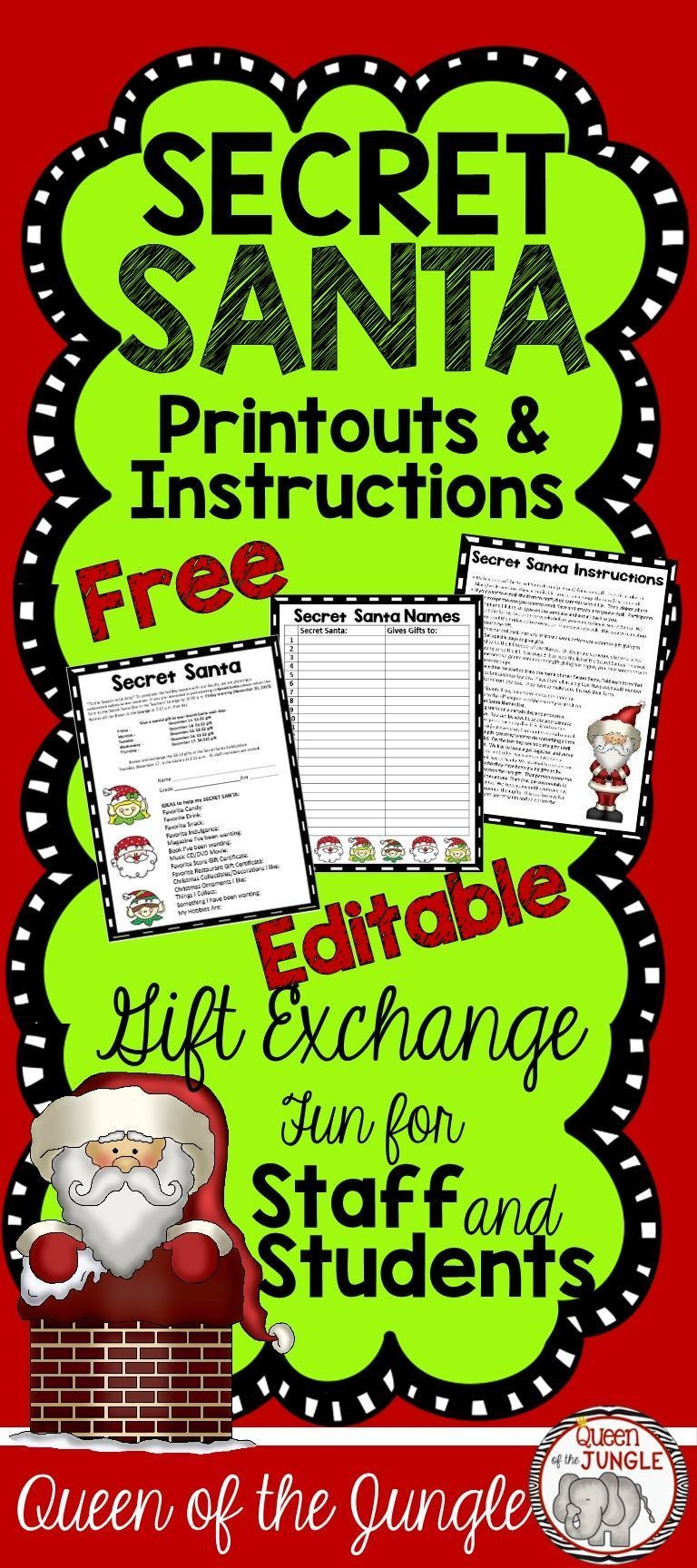 Secret Santa Gift Exchange Free #secretsantaideasforwork Secret Santa Gift Exchange. Great for Students or Staff. Free Printables and Instruction.Includes Secret Santa Letter and Name List. Editable pages included. #fashion #secretsantagifts