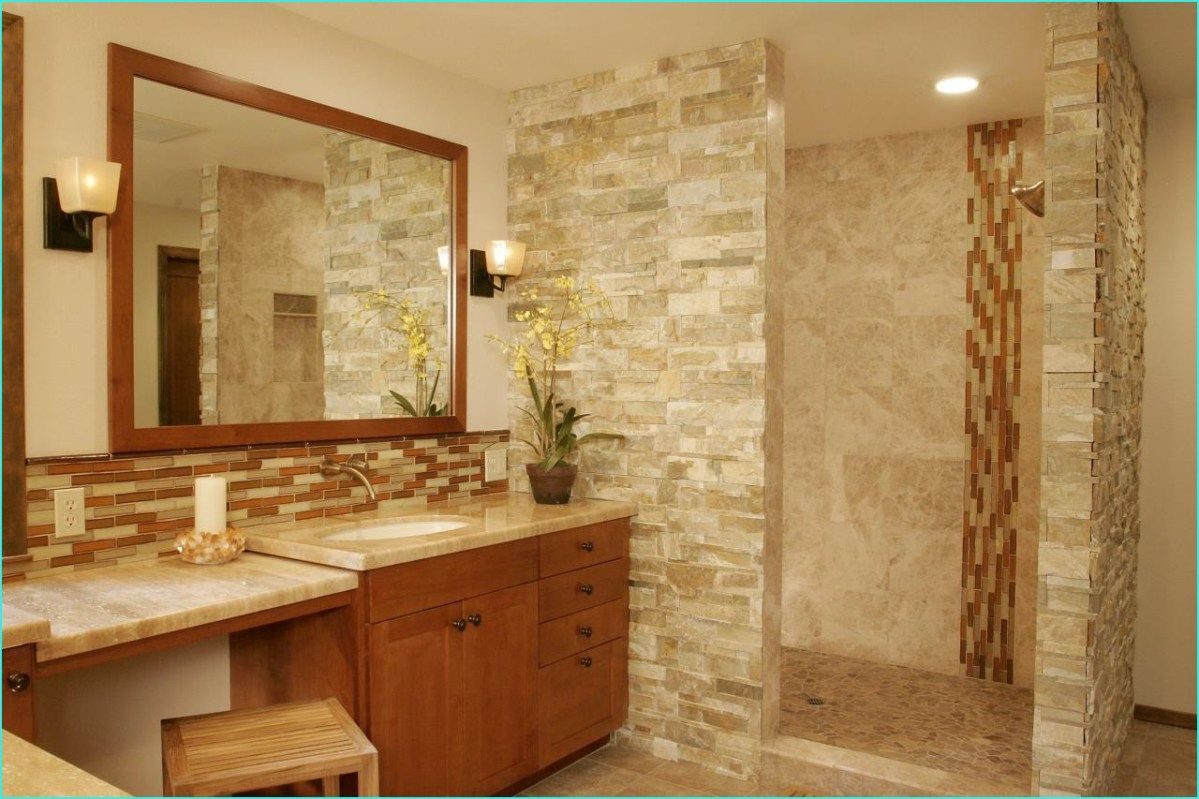 40 Rustic Bathroom Designs Decoholic Natural Stone Bathroom