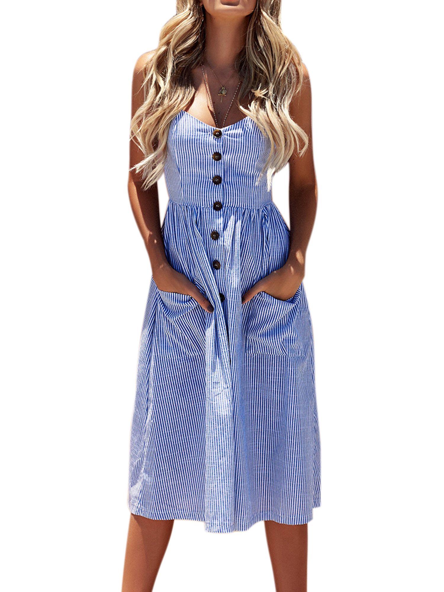 Free 2 Day Shipping Buy Womens Summer Holiday Beach Bardot Button Through Ladies Sling Long Smock Summer Dresses For Women Beach Dresses Summer Summer Dresses [ 2000 x 1500 Pixel ]
