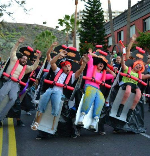 Just a few friends dressed up as a roller coaster.