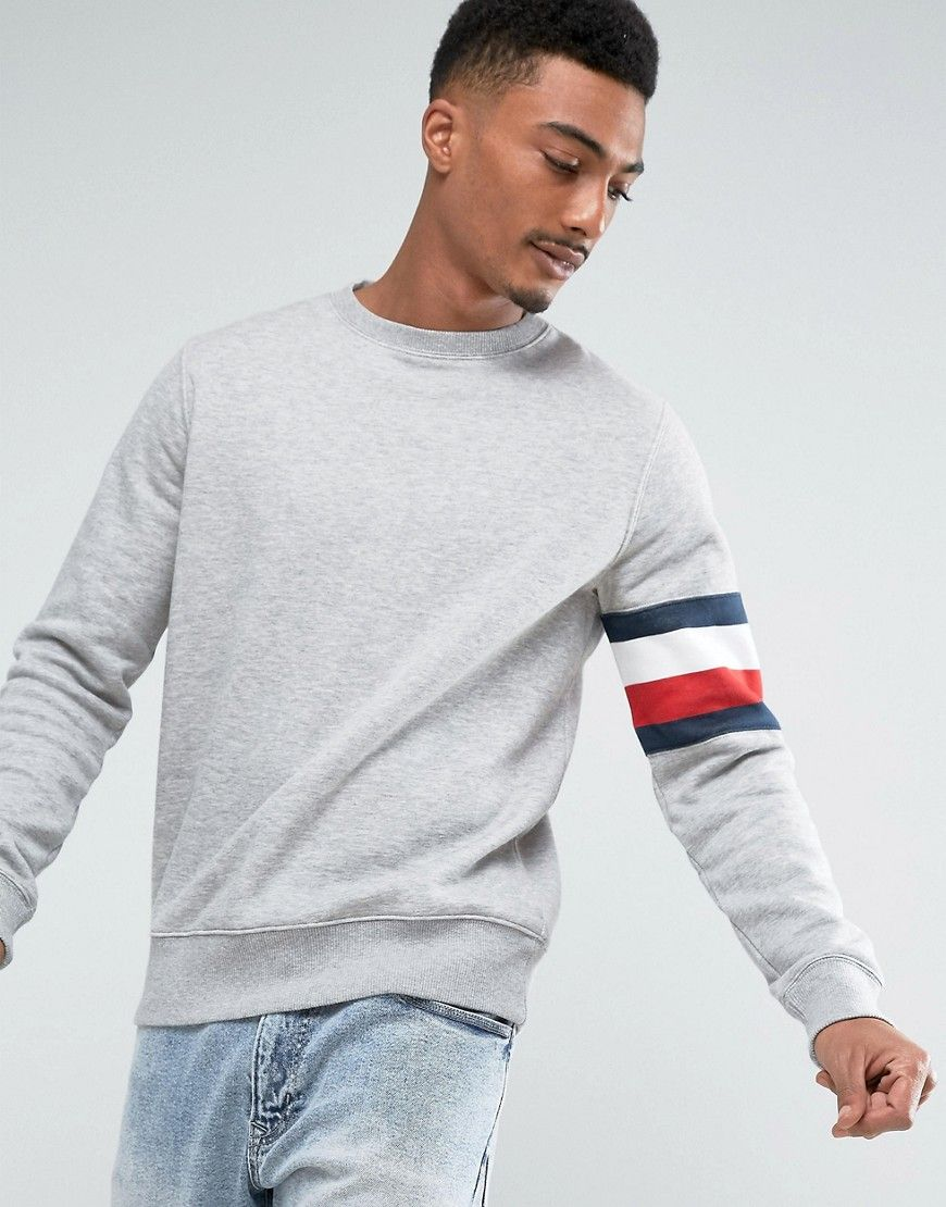 a682e038 TOMMY HILFIGER BRODY SWEATER WITH ICON ARM STRIPE DETAIL IN GRAY - GRAY. # tommyhilfiger #cloth #