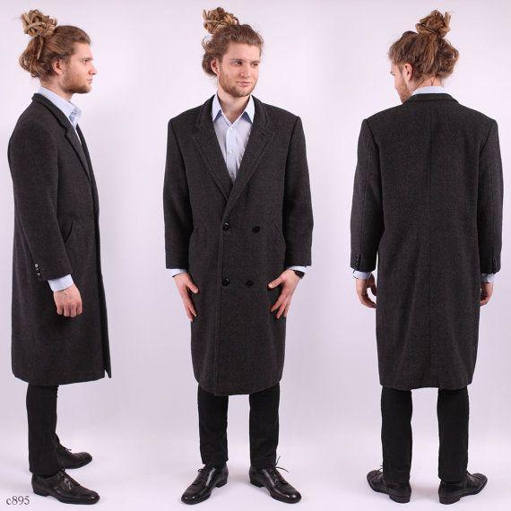 Mens WINTER Coat . Vintage 60s Alpaca Wool Double Breasted 1960s Gray Overcoat Formal Longcoat . Large to XL YnKpbIUx