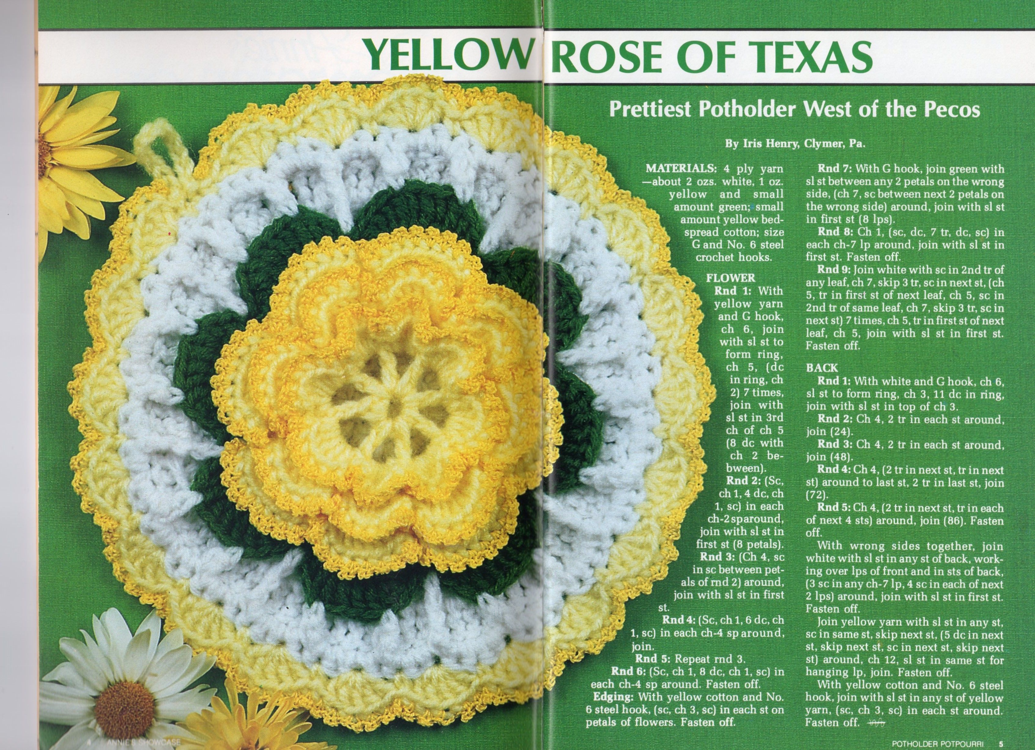 Yellow Rose Of Texas Potholder Scanned Crochet Patterns