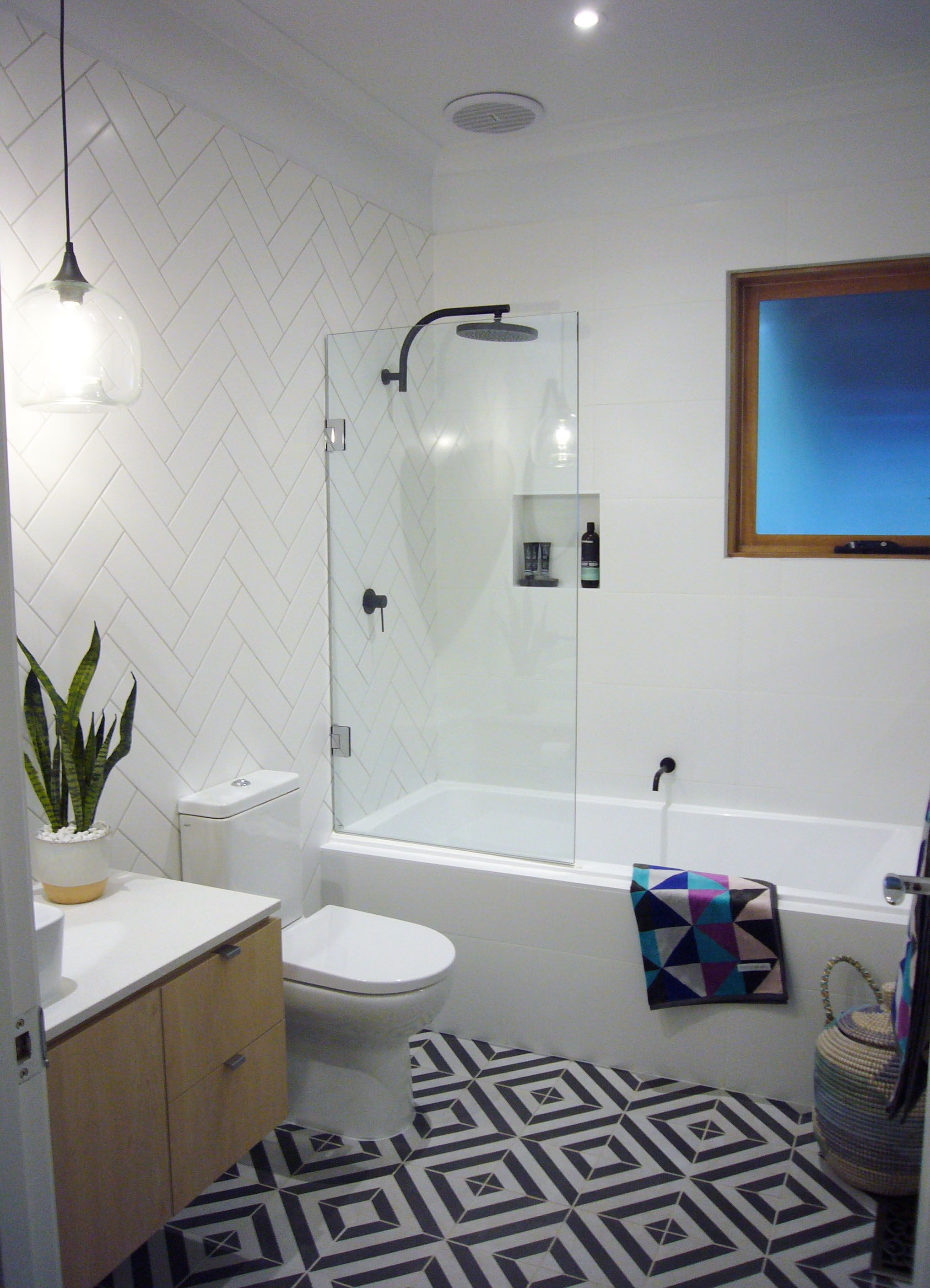 Stunning bathroom featuring Phoenix Tapware matte black taps and ...