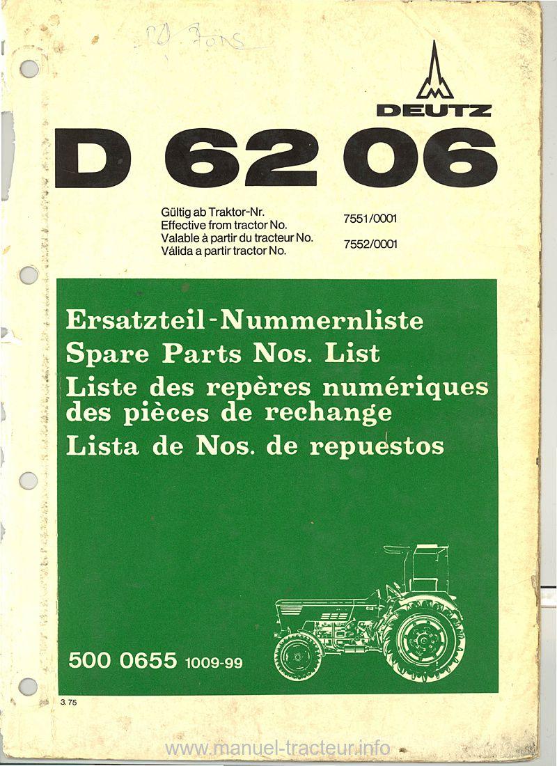 Catalogue Pièces Détachées Deutz D 6206 Catalogue Sommaire Tracteur Deutz
