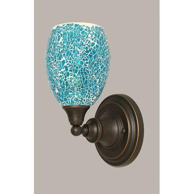 Toltec Lighting 1 Light Wall Sconce Shade Color: Turquoise, Base Finish: Dark Granite