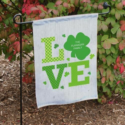 Personalized Irish Love Garden Flag Shamrock Love Valentines Day Flag Banner