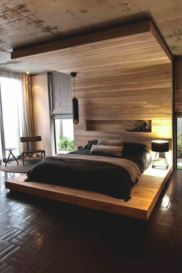 schlafzimmer modern und gemütlich ausstatten - hölzerne struktur - ideen f r schlafzimmereinrichtung