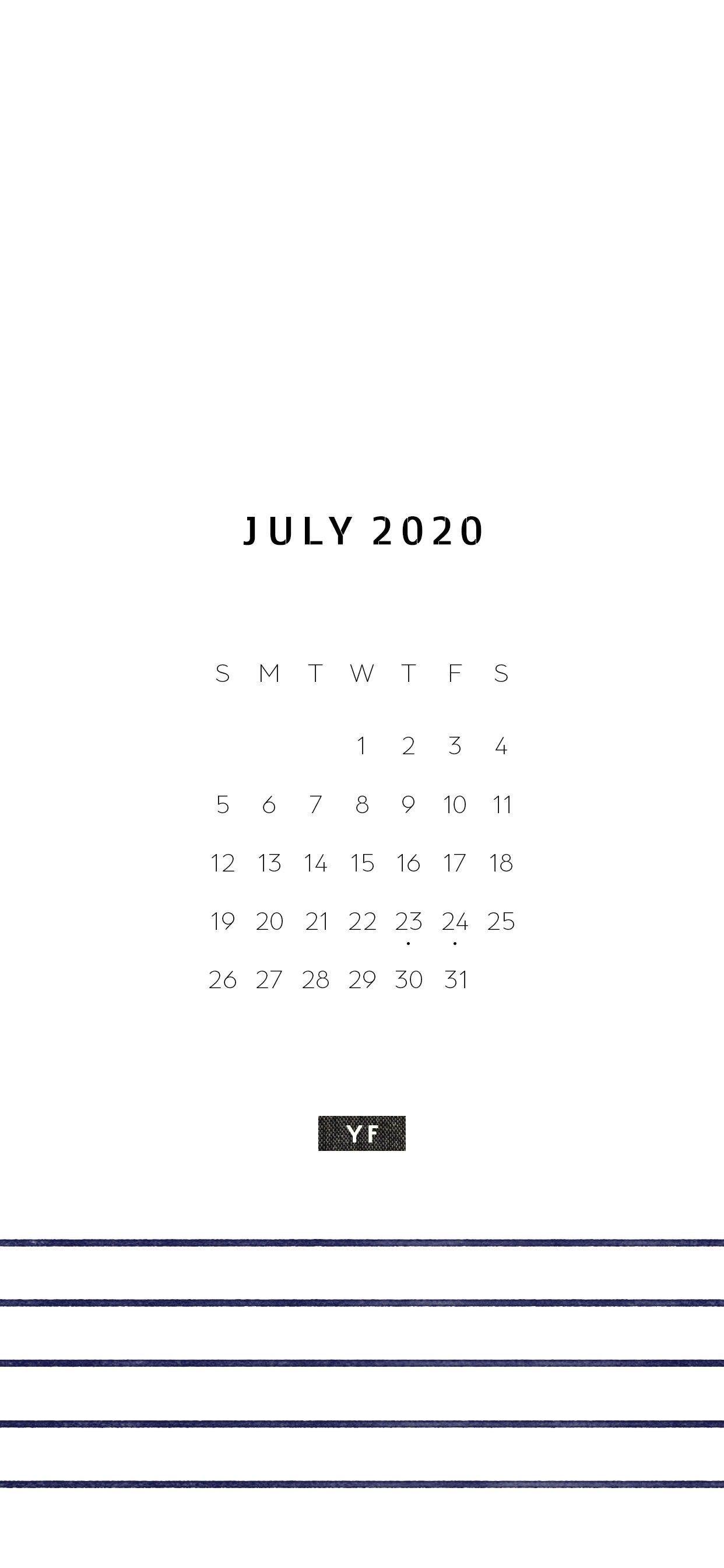 Free Iphone July Calendar 𝗬 𝗙 Note カレンダー 壁紙 長押