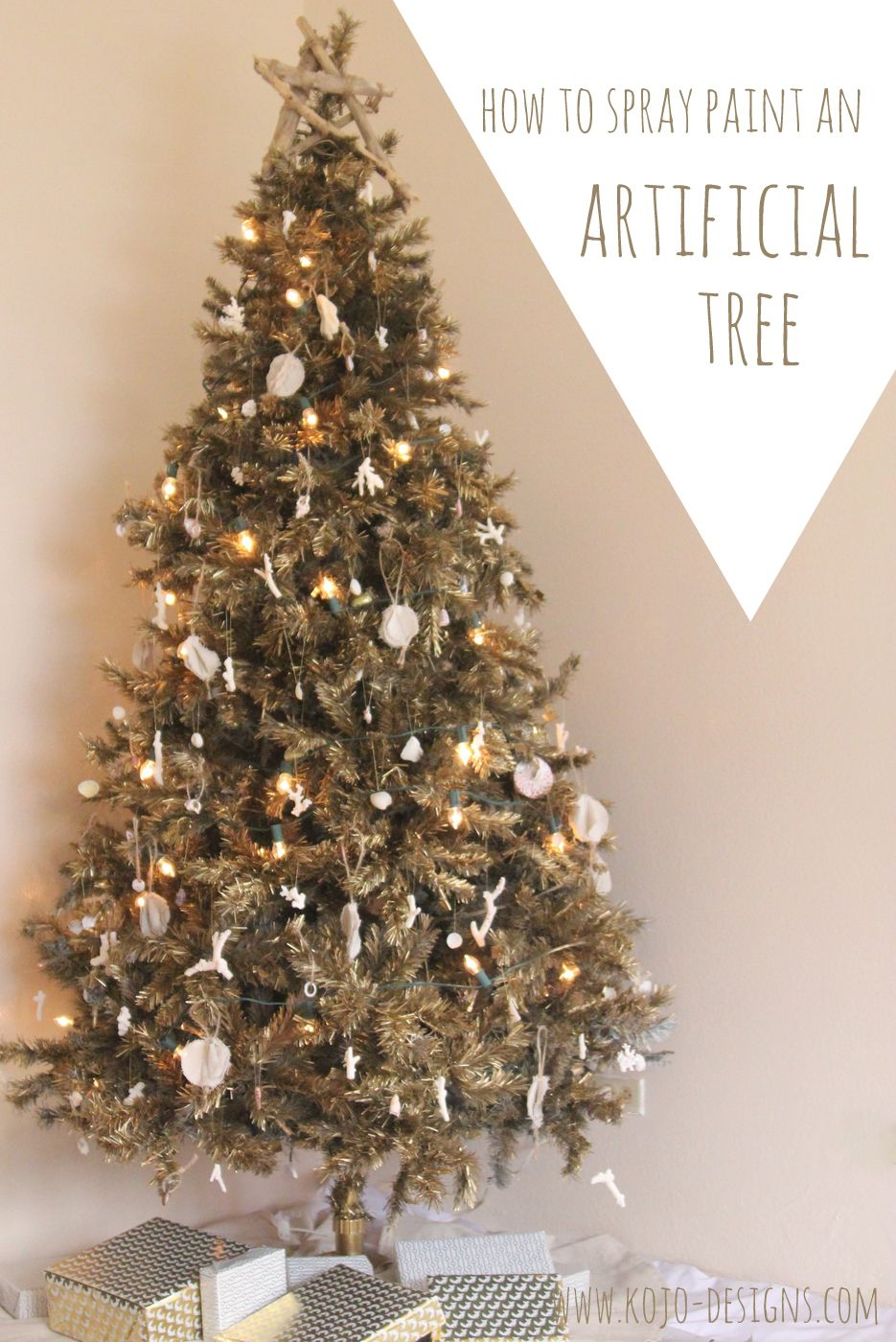 How To Spray Paint An Artificial Christmas Tree Christmas Tree Painting Fake Christmas Trees Faux Christmas Trees