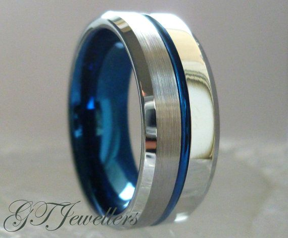 Tungsten Wedding Band Blue Ring Brushed By GTJewellers