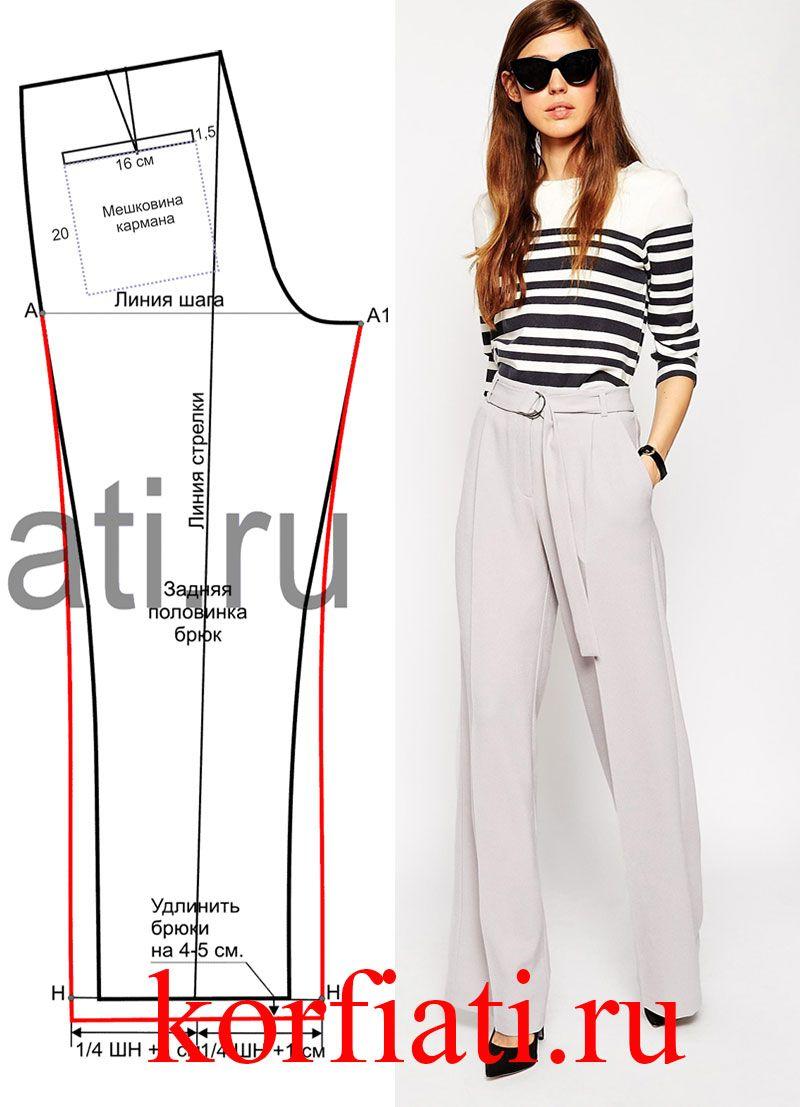 Выкройка широких брюк | szycie | Pinterest | Costura, Patrones y Molde