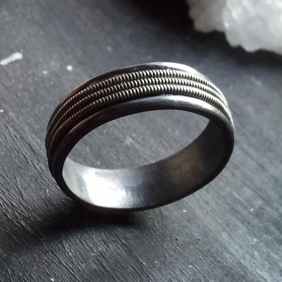 the tritone ring sterling silver and guitar string band via etsy guitarstrings. Black Bedroom Furniture Sets. Home Design Ideas