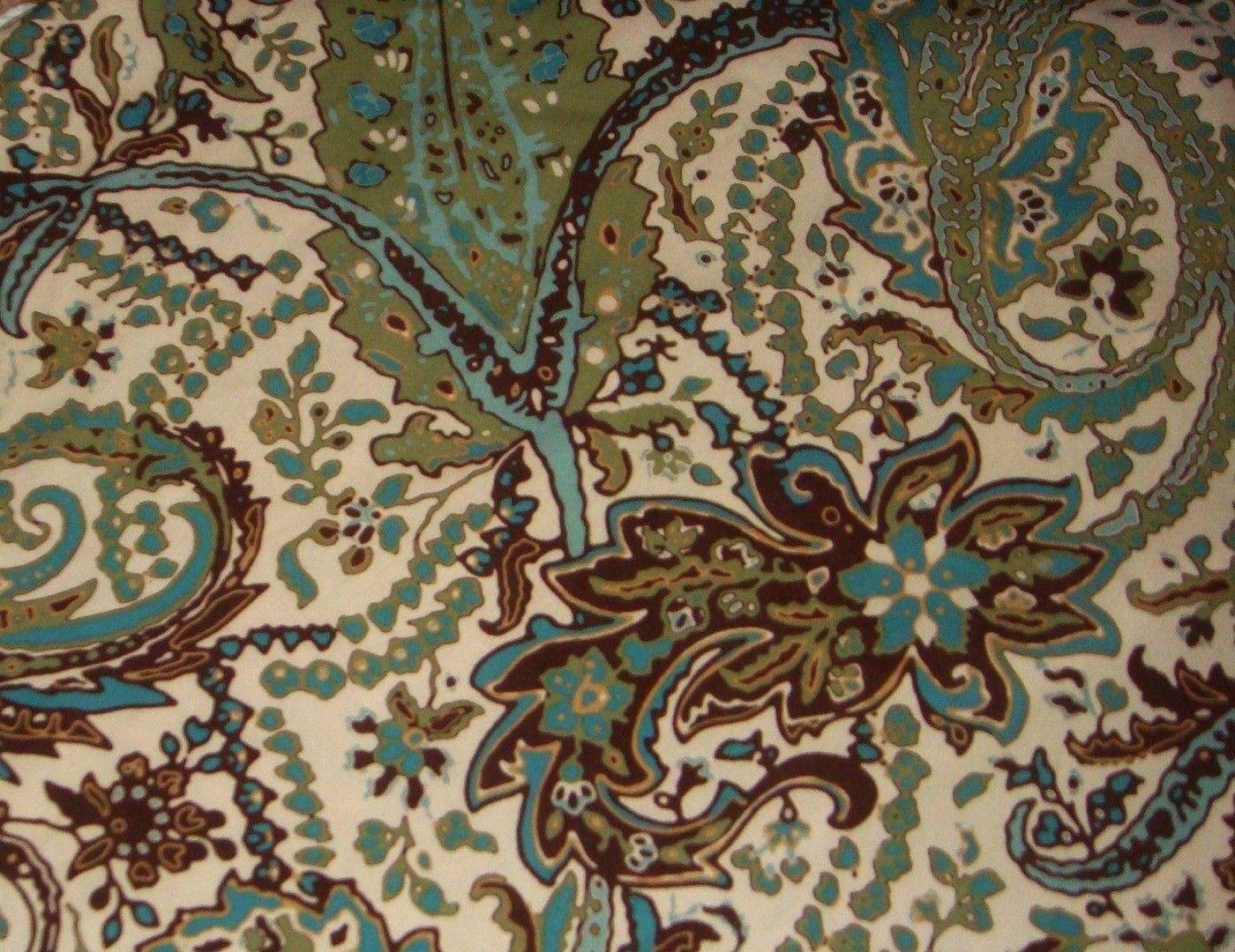 Threshold Paisley Green Teal Blue Cream Brown Fabric