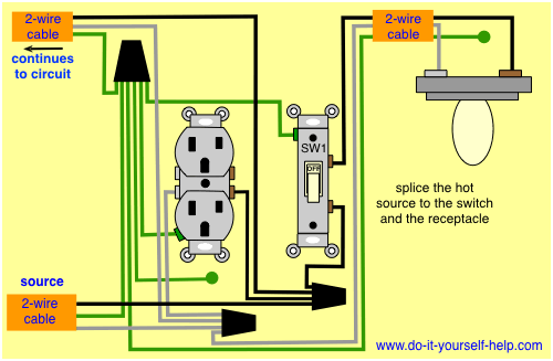switch and receptacle same box | Light switch wiring, Electrical wiring,  Home electrical wiringPinterest