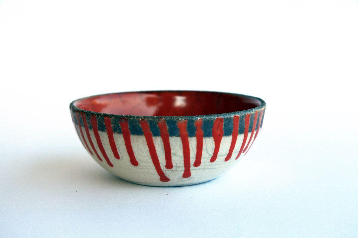 Ceramic Fruit Bowl Raku Pottery Red White Stripes Christmas By Bottegakrua On Etsy