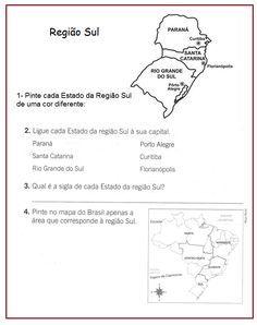 Regiao Sul Rerida Maria Atividades Com Mapas Atividades De