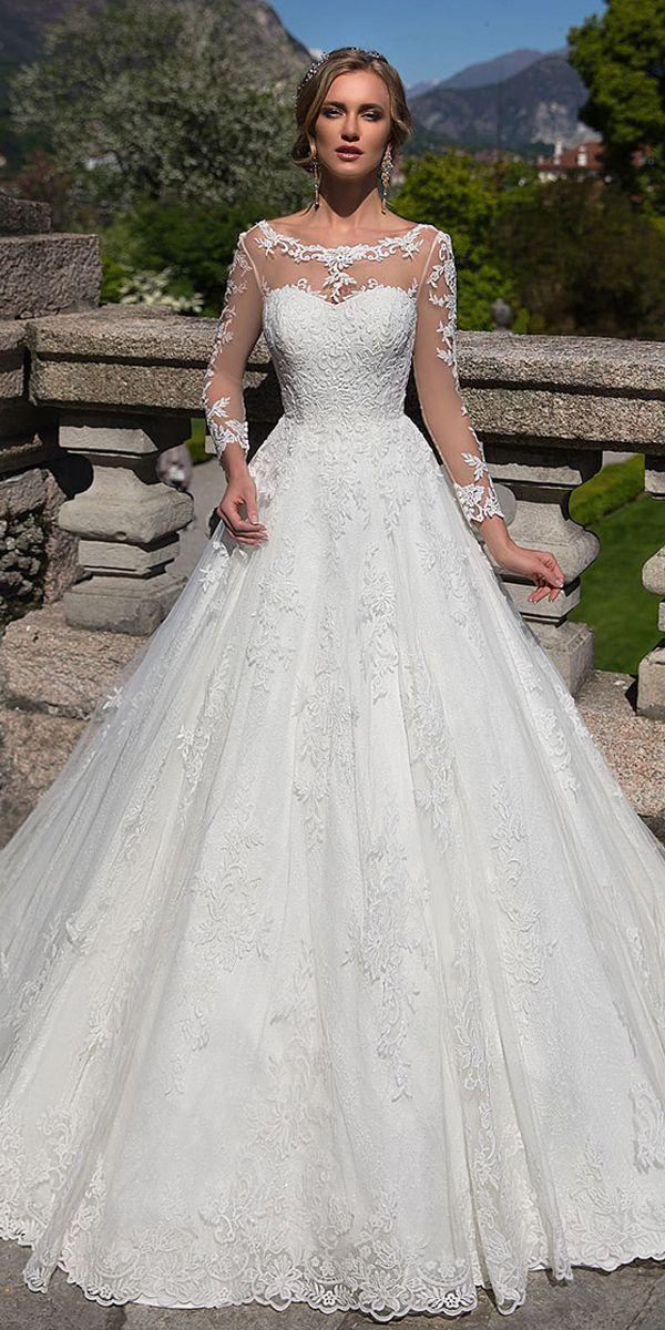 Romantic Tulle & Lace Bateau Neckline A-line Wedding Dress With Lace ...