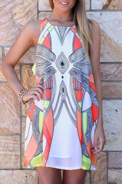 Stylish Sleeveless Scoop Neck Geometry Print Women's Dress