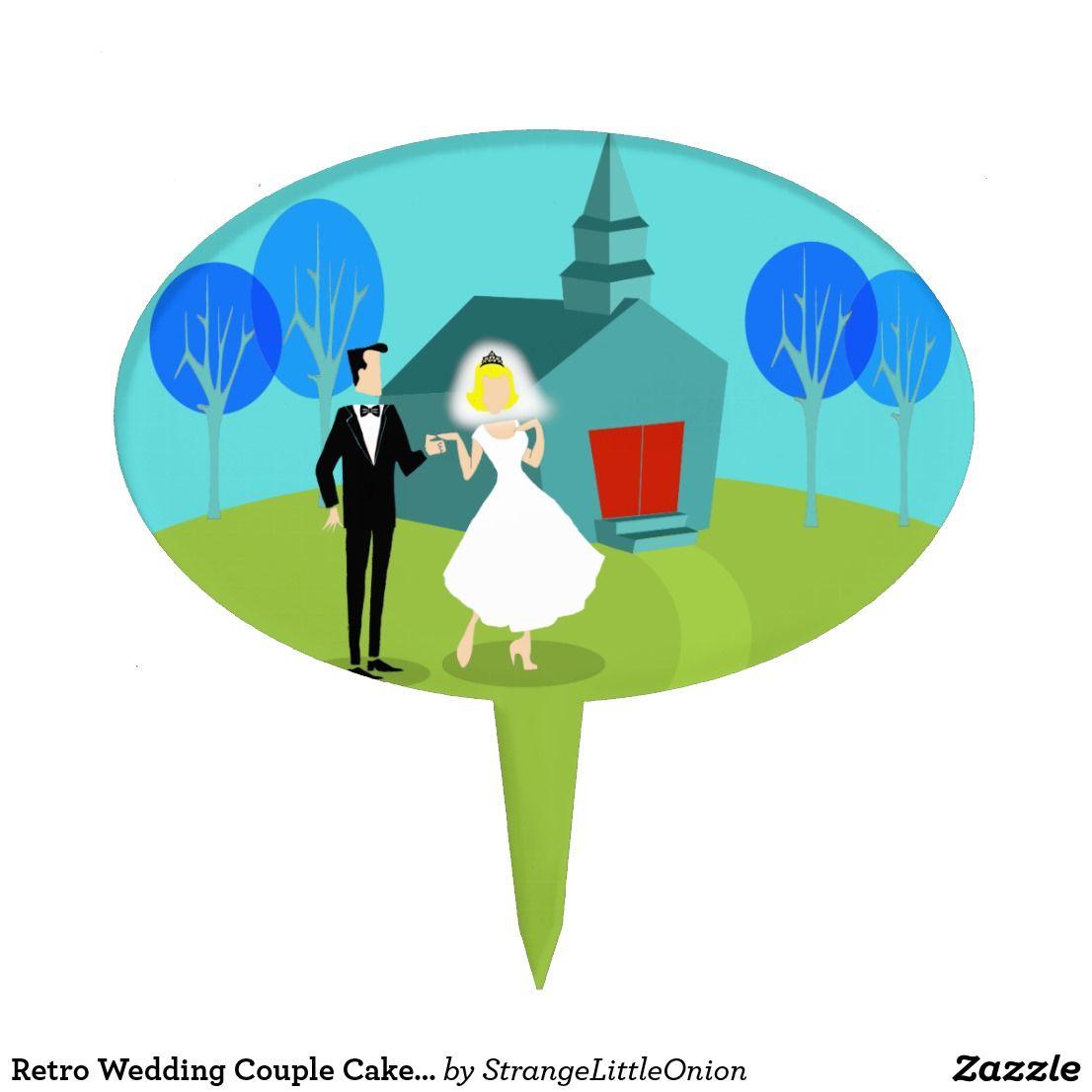 Retro wedding couple cake pick wedding cake toppers pinterest