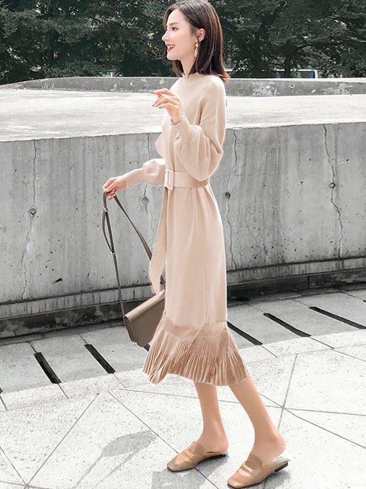 ファッション通販 fashion doresuwe大人可愛いハイネックミモレ丈切り替え着回し優雅ニットワンピースレディースファッション 商品番号 13588095 ファッションアイデア ワンピース ニットワンピース