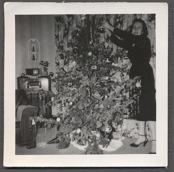 vintage photo woman w christmas tree radio home definitely not my mom she always felt that those big consoles were a waste of money and wood they had