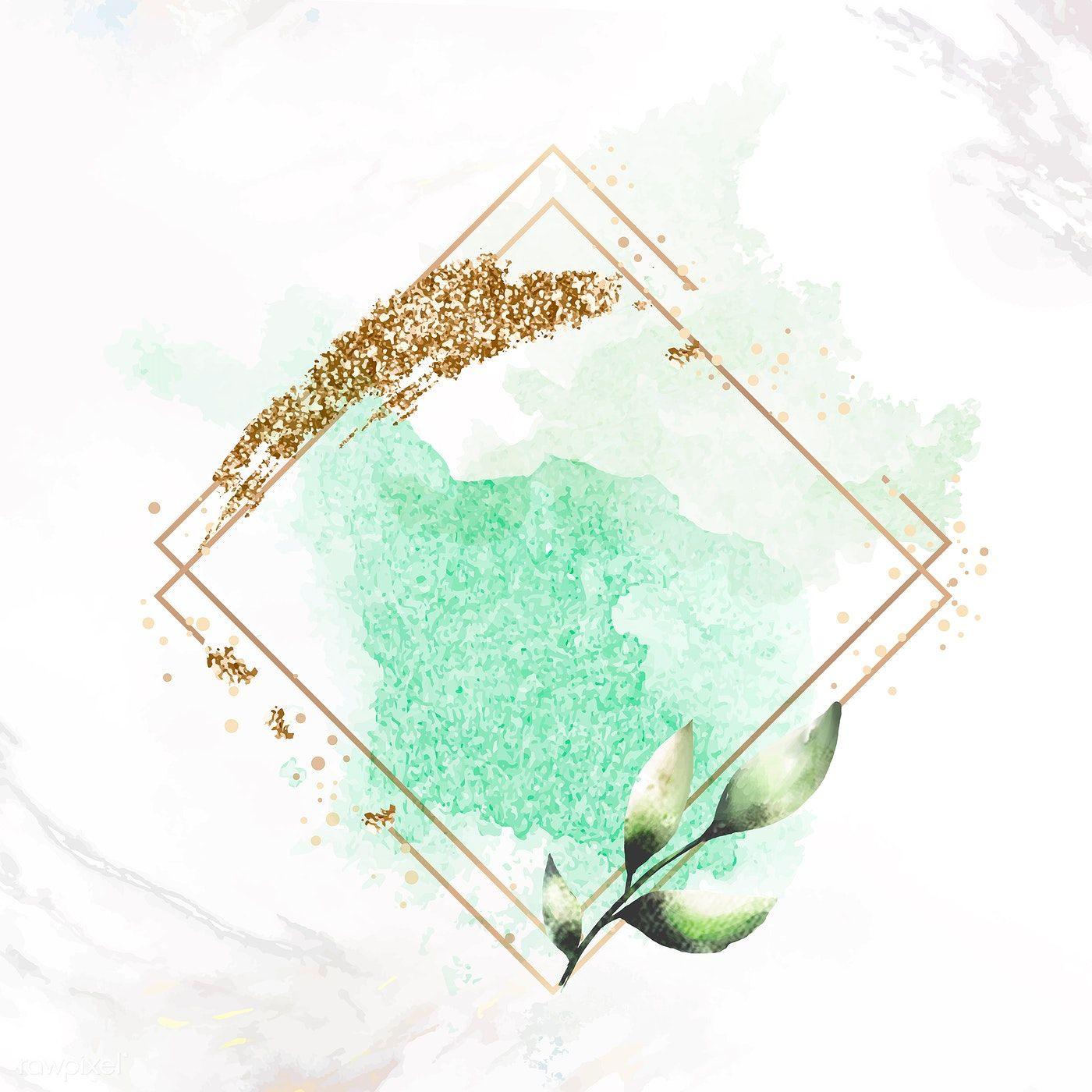 Download premium vector of Gold rhombus frame on green