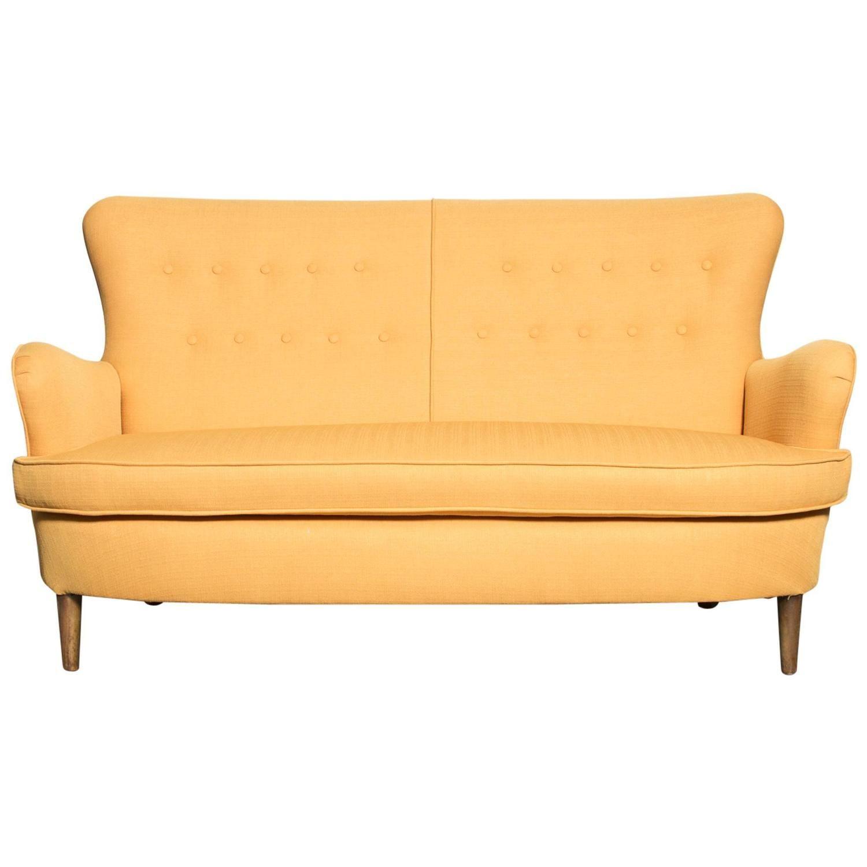 Elegant Theo Ruth Style Wingback Loveseat In Sunshine Yellow | 1stdibs.com