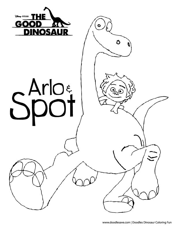 The Good Dinosaur Coloring Pages Arlo And Spot Disney Coloring