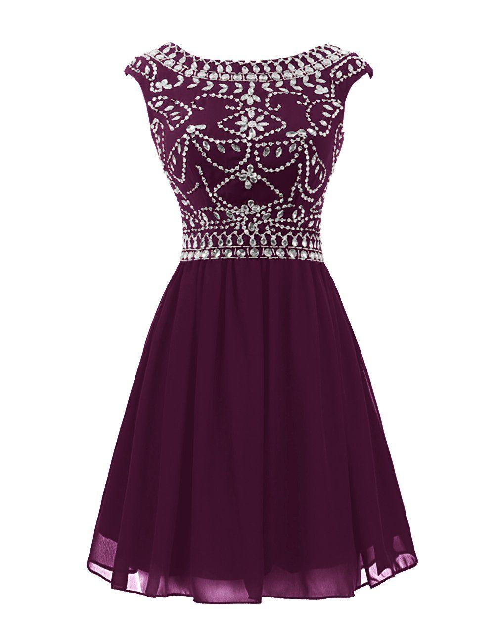 Wedtrend womenus short prom dress with beads chiffon cocktail dress