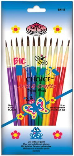 Big Kids Choice Arts & Crafts Brush Set-12/Pkg by Royal. $0.60. Brand New Item / Unopened Product. BK112. Royal Brush. 090672006882. A set of 12 Big Kids Choice paintbrushes. Includes 4 each of sizes 1 3 and 5. Soft natural hairs. Use for oils acrylics tempera watercolors and model paints.. Save 70%!