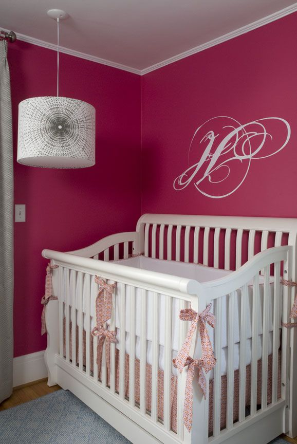 Chic Raspberry And Gray Nursery. Pink Wall PaintsPink WallsHot ...